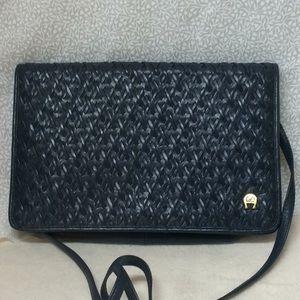 Vintage Etienne Aigner Navy Blue weave purse bag